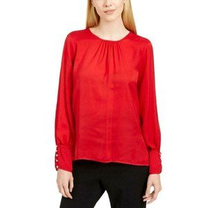 New Calvin Klein PS Smocked Wrist Blouse Pleated
